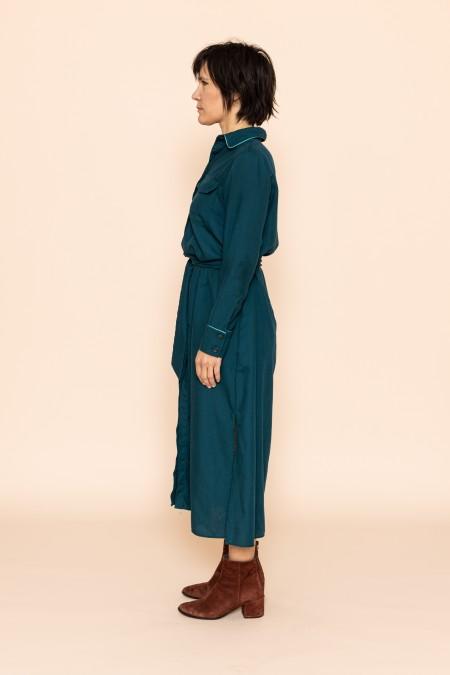 Long belted dress vert canard