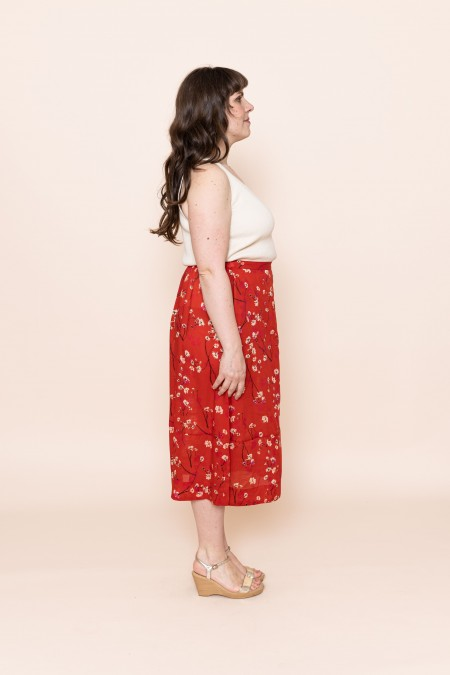 Midi-skirt Moonflower Red