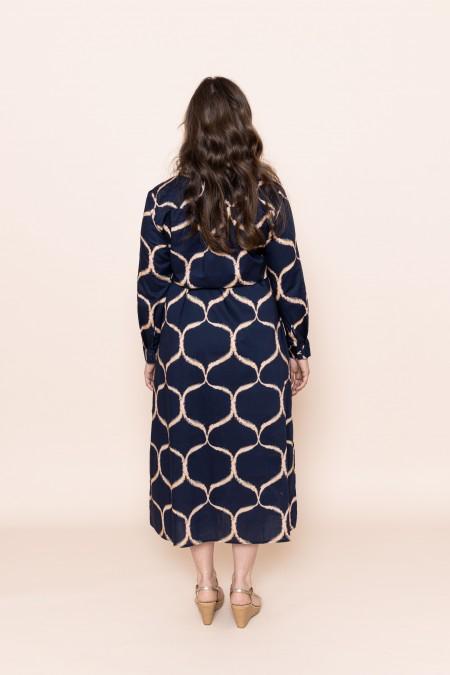 Orient Shirt Dress Navy Blue