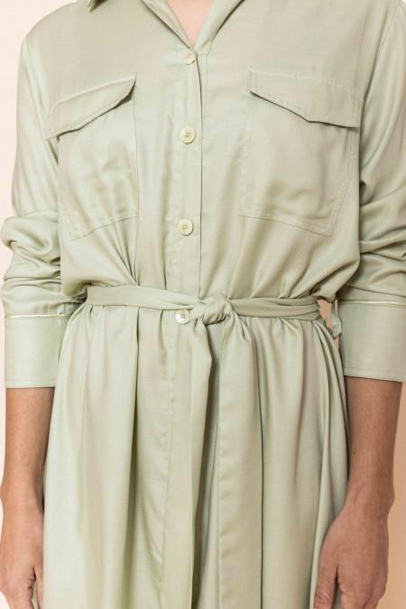 Long Belted Dress Pistachio
