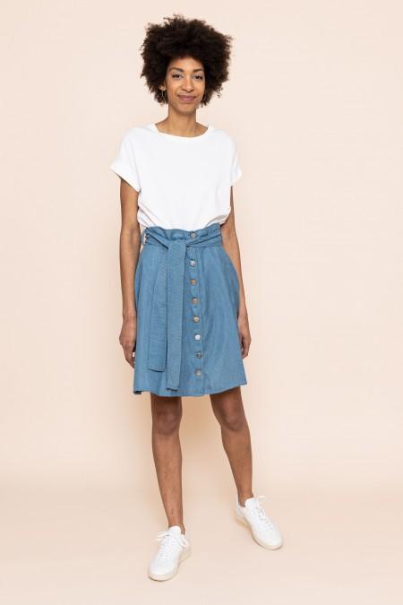 Velvet buttoned skirt lagoon blue
