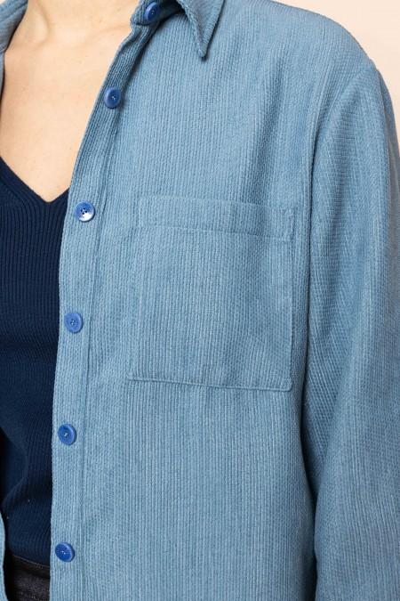 Velvet oversized shirt blue