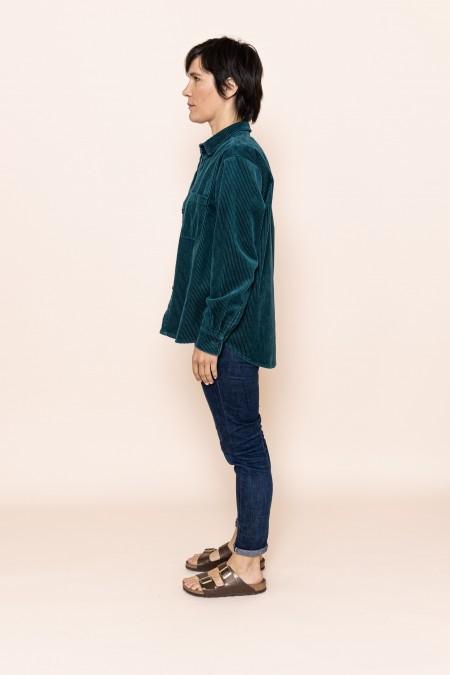 Velvet oversized shirt colvert green