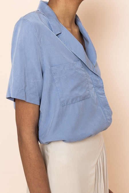 Blue V-collar Shirt