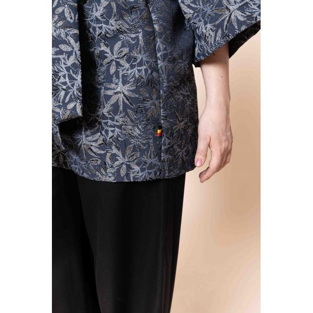 EVORA Kimono (gris-bleu fleuri)