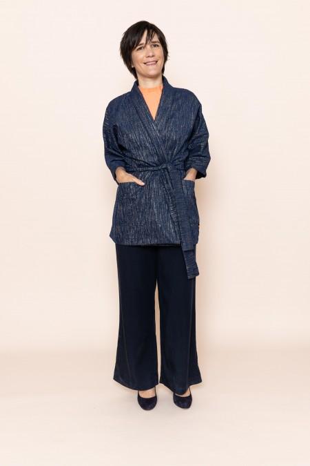 EVORA Kimono (gris-bleu ligné)