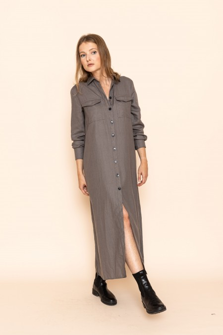 Long belted dress anthracite