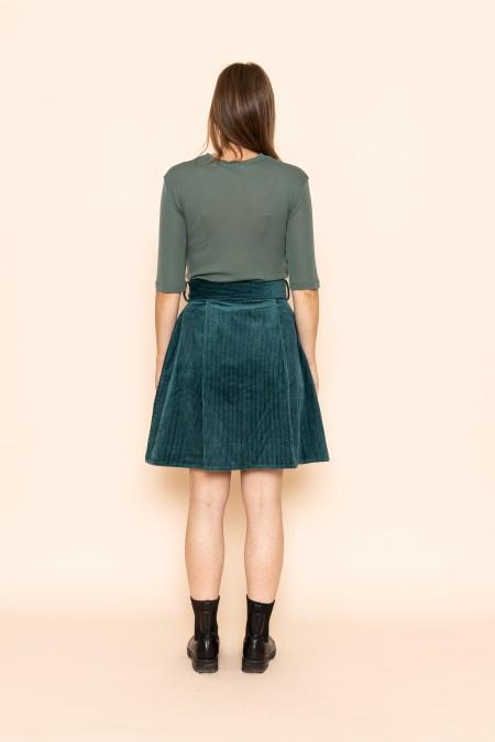 Velvet buttoned skirt colvert green